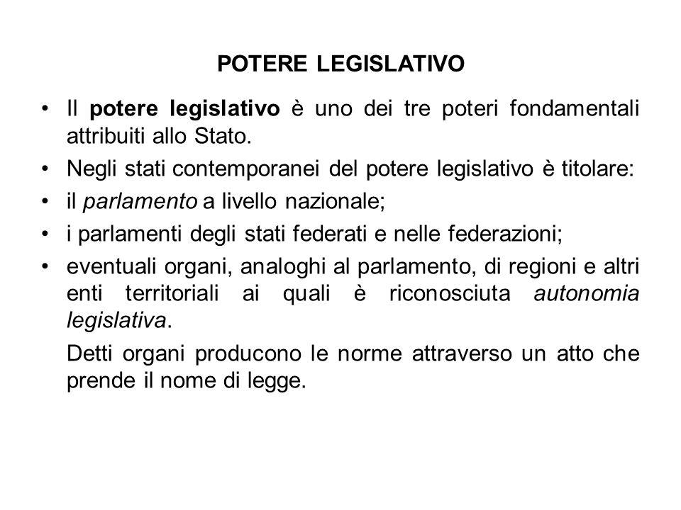POTERE LEGISLATIVO Il potere legislativo è uno dei tre poteri fondamentali attribuiti allo Stato.