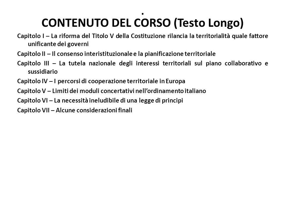CONTENUTO DEL CORSO (Testo Longo)