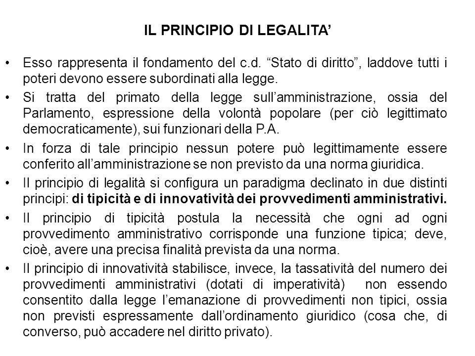 IL PRINCIPIO DI LEGALITA'