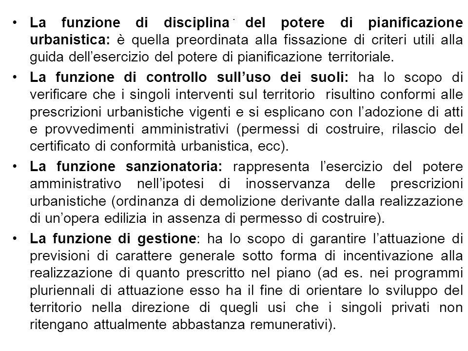 La funzione di disciplina del potere di pianificazione urbanistica: è quella preordinata alla fissazione di criteri utili alla guida dell'esercizio del potere di pianificazione territoriale.