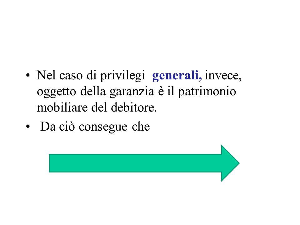 Nel caso di privilegi generali, invece, oggetto della garanzia è il patrimonio mobiliare del debitore.