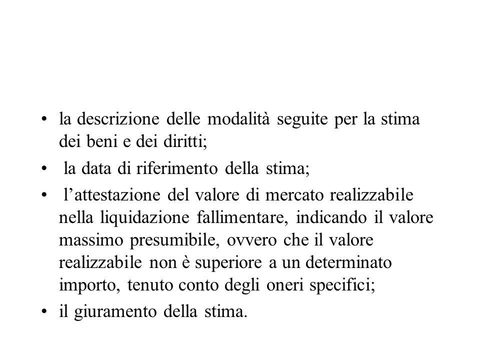 la descrizione delle modalità seguite per la stima dei beni e dei diritti;