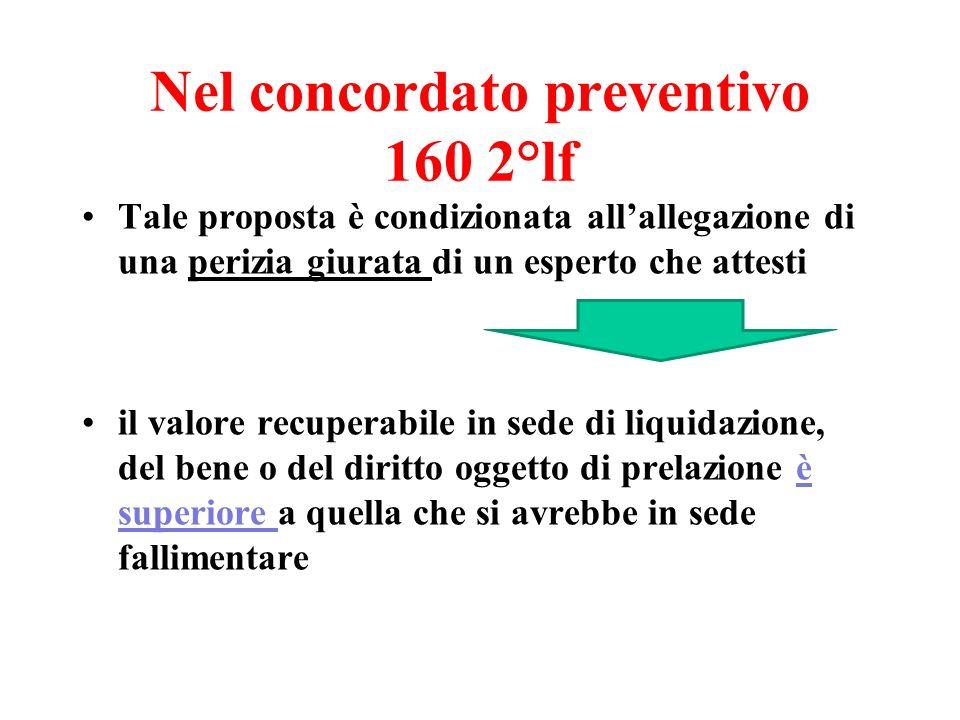 Nel concordato preventivo 160 2°lf