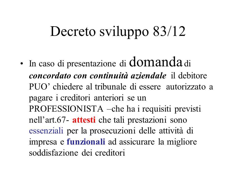 Decreto sviluppo 83/12