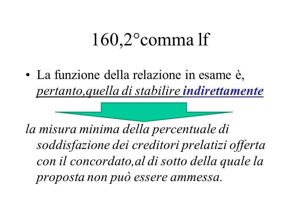 160,2°comma lf La funzione della relazione in esame è, pertanto,quella di stabilire indirettamente.