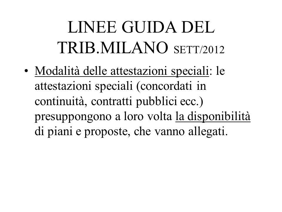 LINEE GUIDA DEL TRIB.MILANO SETT/2012