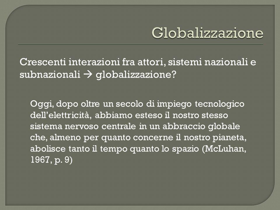 Globalizzazione Crescenti interazioni fra attori, sistemi nazionali e subnazionali  globalizzazione