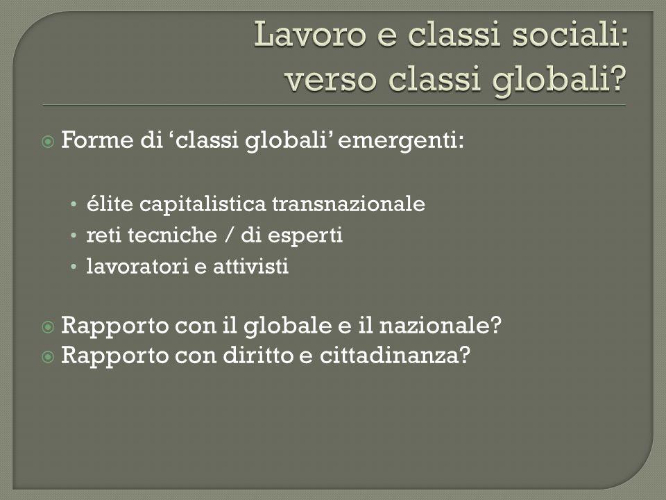 Lavoro e classi sociali: verso classi globali