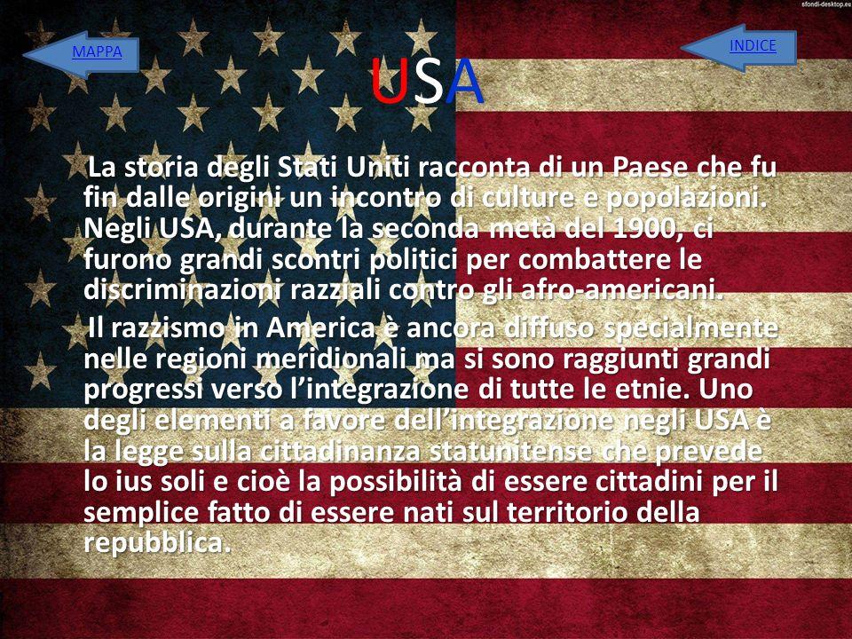 USA INDICE. MAPPA.