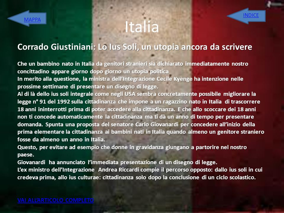 Italia Corrado Giustiniani: Lo Ius Soli, un utopia ancora da scrivere