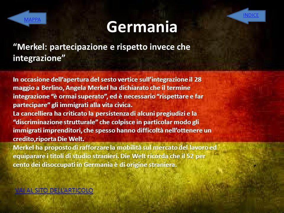 Germania Merkel: partecipazione e rispetto invece che integrazione
