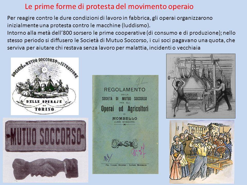 Le prime forme di protesta del movimento operaio