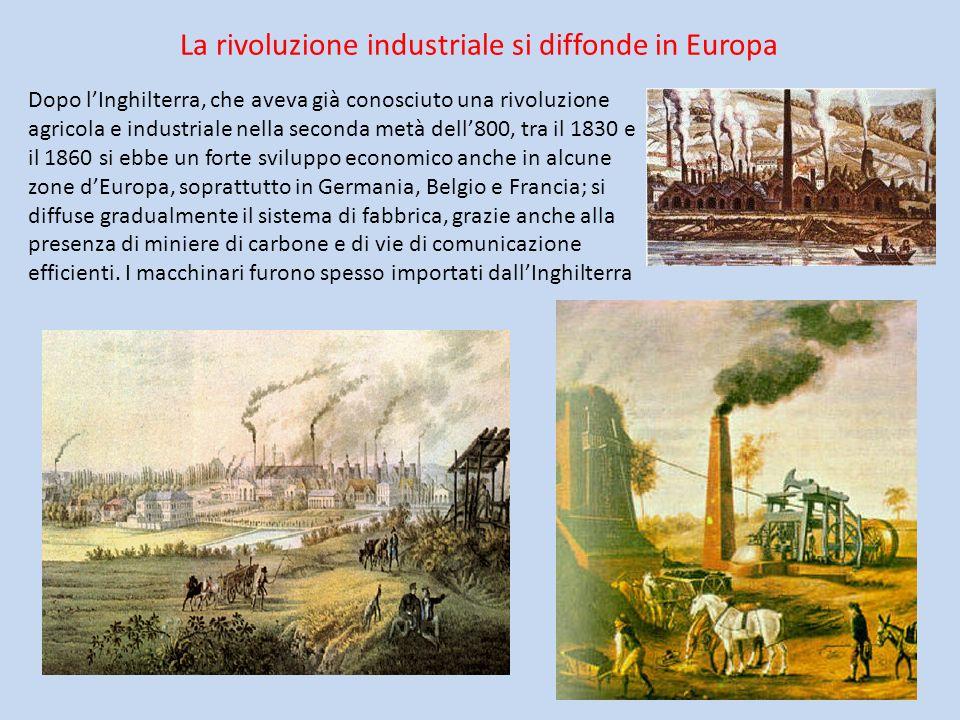 La rivoluzione industriale si diffonde in Europa