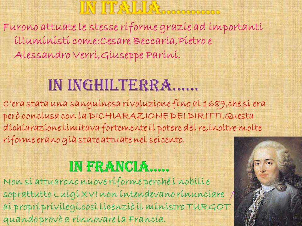 IN ITALIA………… IN INGHILTERRA…… IN FRANCIA…..