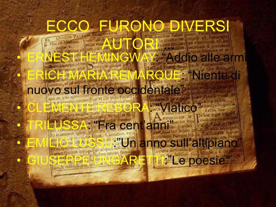 ECCO FURONO DIVERSI AUTORI …