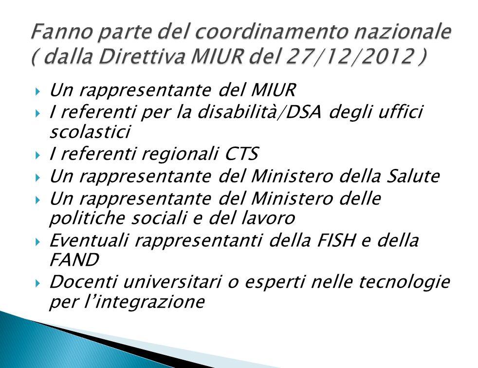 Fanno parte del coordinamento nazionale ( dalla Direttiva MIUR del 27/12/2012 )