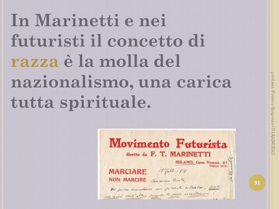 In Marinetti e nei futuristi il concetto di razza è la molla del nazionalismo, una carica tutta spirituale.