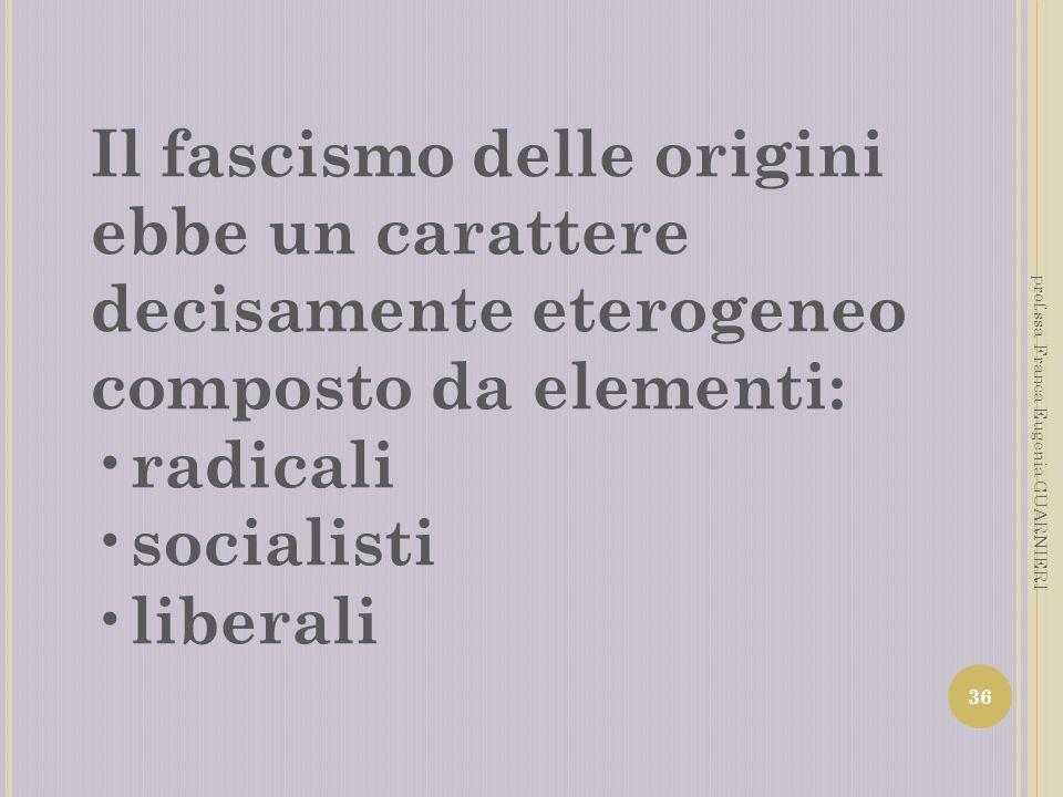 Il fascismo delle origini ebbe un carattere decisamente eterogeneo composto da elementi: