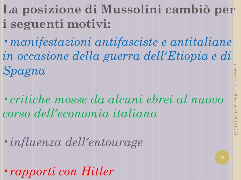 La posizione di Mussolini cambiò per i seguenti motivi: