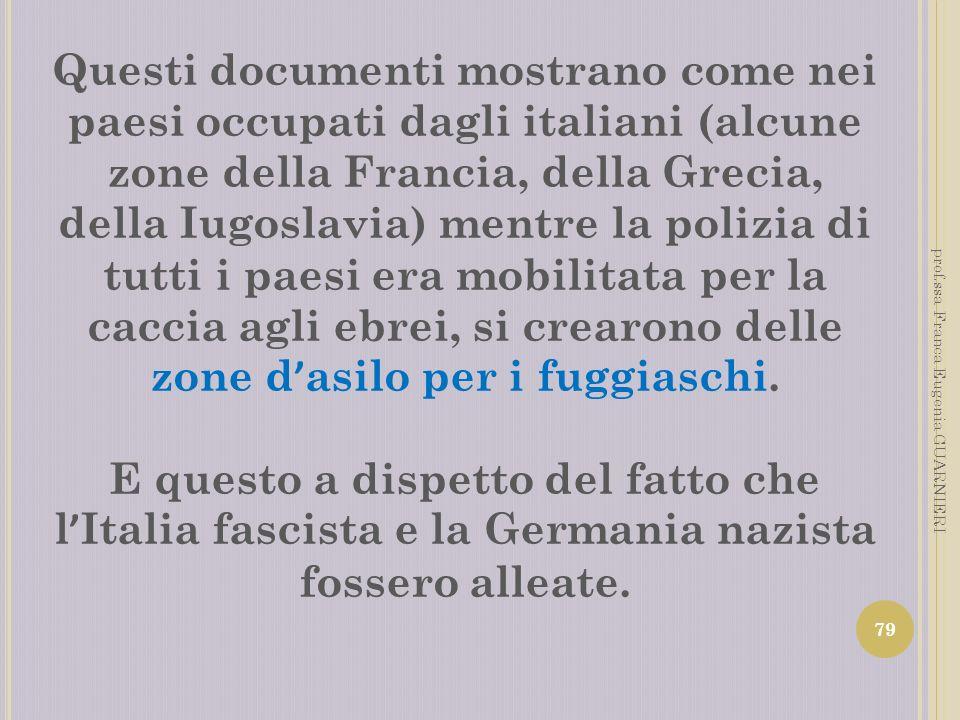 Questi documenti mostrano come nei paesi occupati dagli italiani (alcune zone della Francia, della Grecia, della Iugoslavia) mentre la polizia di tutti i paesi era mobilitata per la caccia agli ebrei, si crearono delle zone d'asilo per i fuggiaschi.