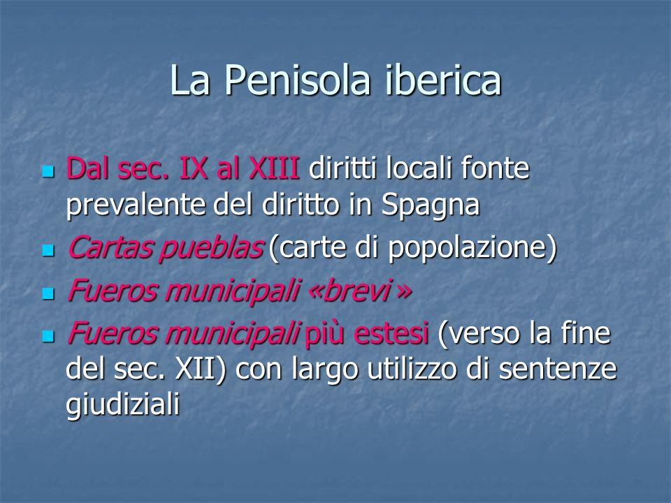 La Penisola iberica Dal sec. IX al XIII diritti locali fonte prevalente del diritto in Spagna. Cartas pueblas (carte di popolazione)