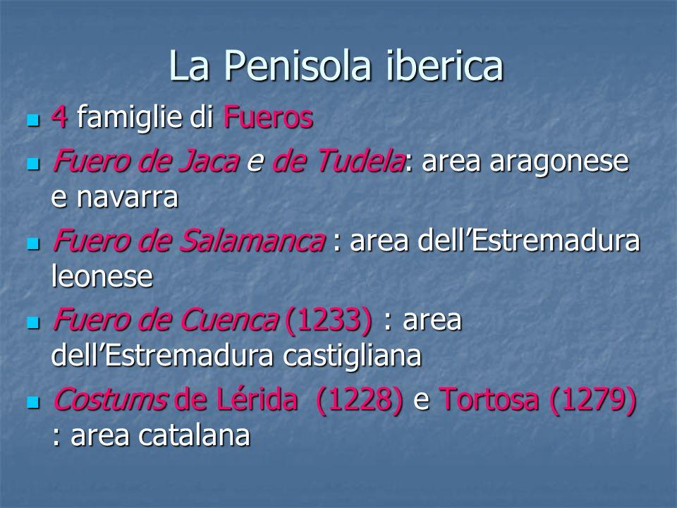 La Penisola iberica 4 famiglie di Fueros