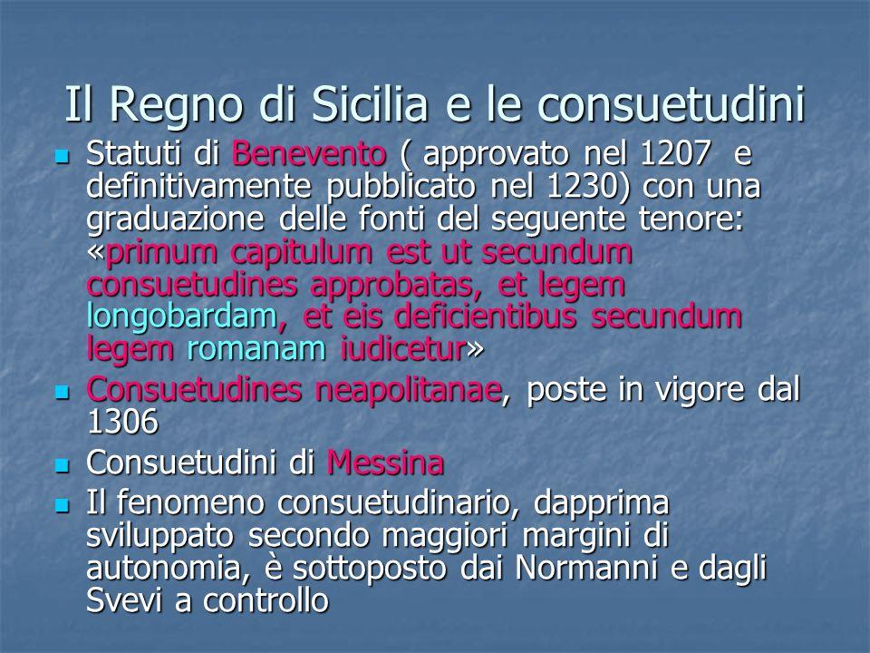 Il Regno di Sicilia e le consuetudini
