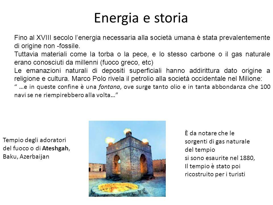 Energia e storia Fino al XVIII secolo l'energia necessaria alla società umana è stata prevalentemente di origine non -fossile.