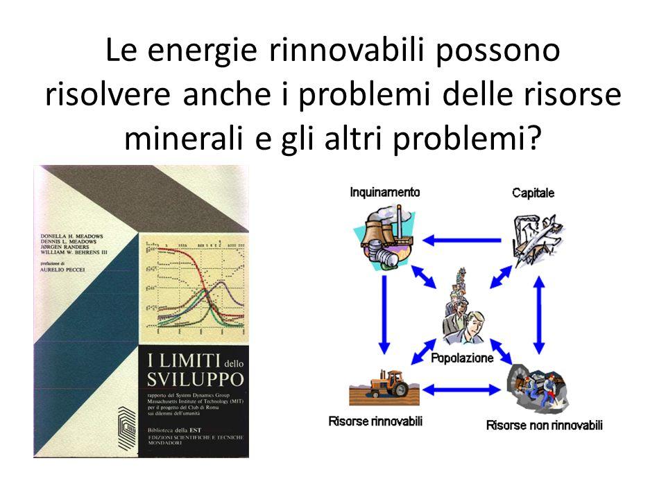 Le energie rinnovabili possono risolvere anche i problemi delle risorse minerali e gli altri problemi