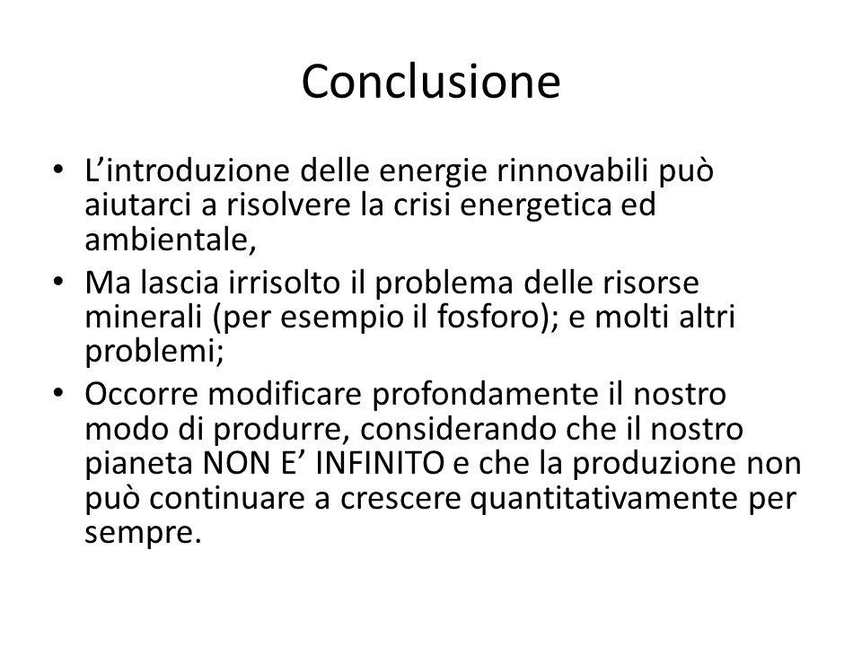 Conclusione L'introduzione delle energie rinnovabili può aiutarci a risolvere la crisi energetica ed ambientale,