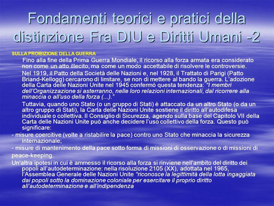 Fondamenti teorici e pratici della distinzione Fra DIU e Diritti Umani -2