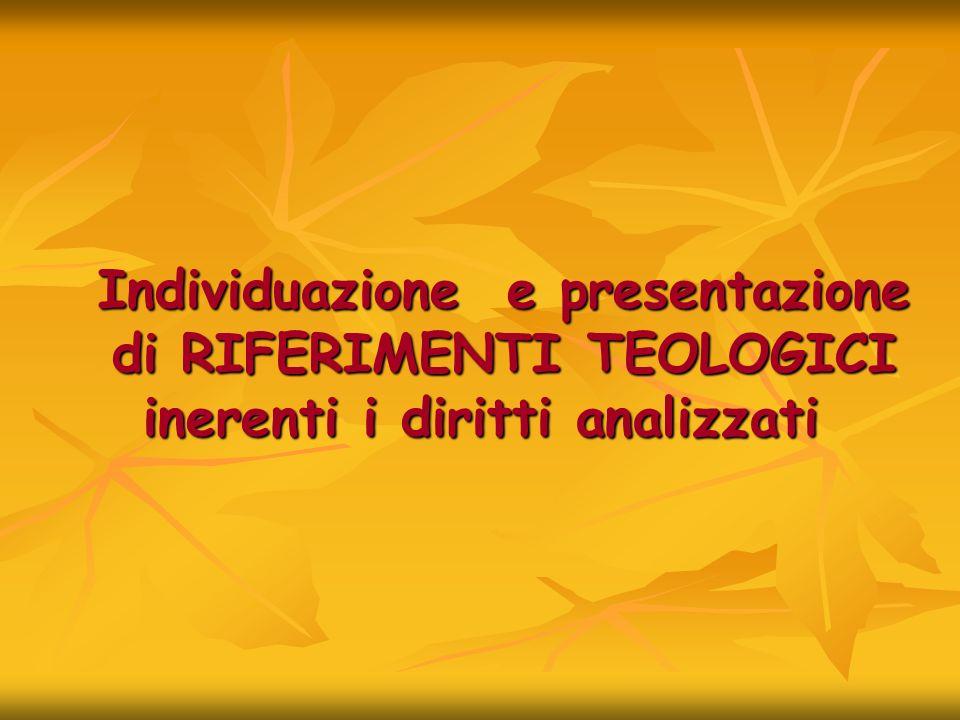 Individuazione e presentazione di RIFERIMENTI TEOLOGICI inerenti i diritti analizzati