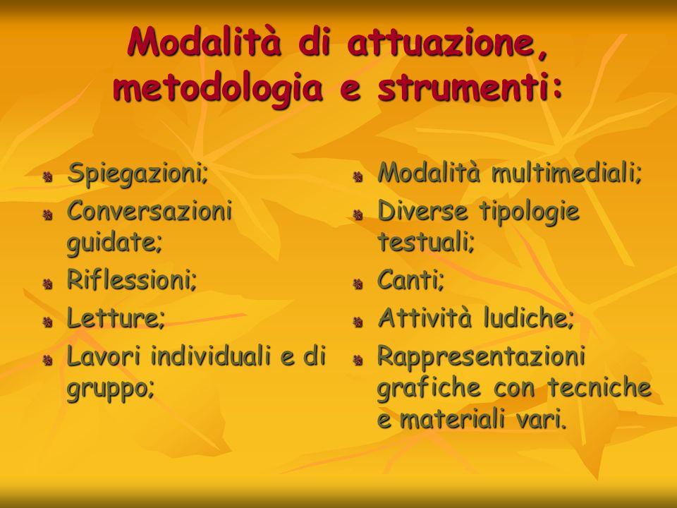 Modalità di attuazione, metodologia e strumenti: