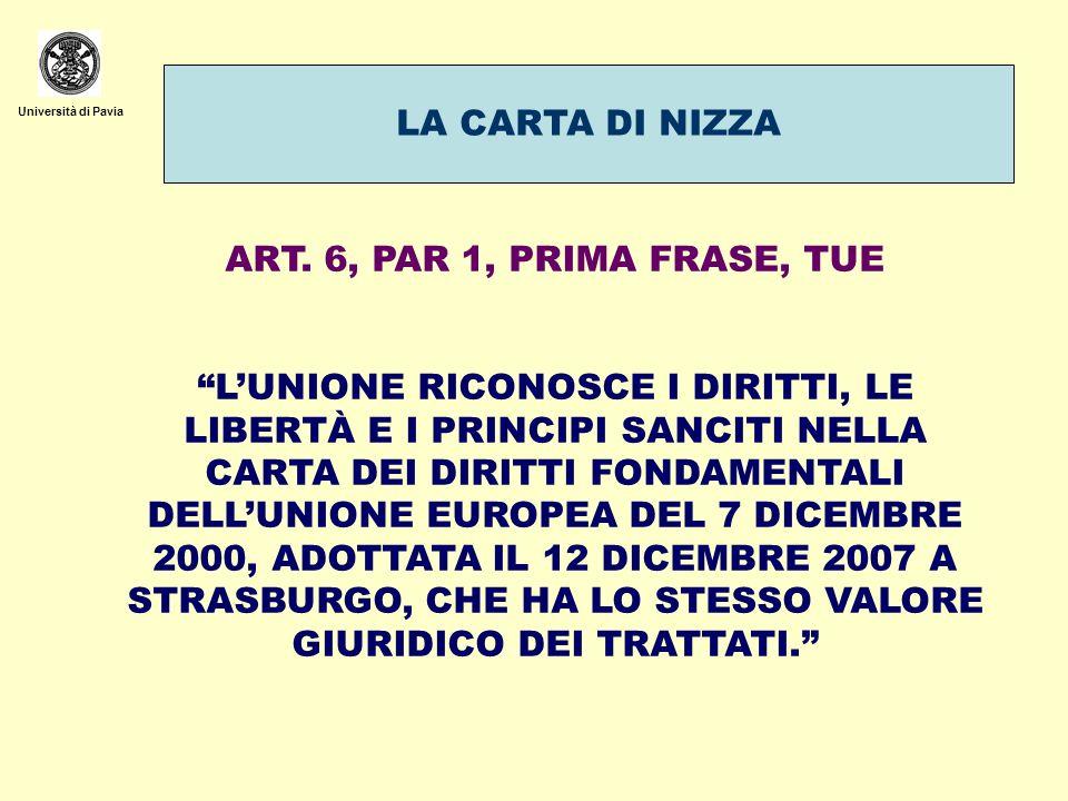 LA CARTA DI NIZZA ART. 6, PAR 1, PRIMA FRASE, TUE