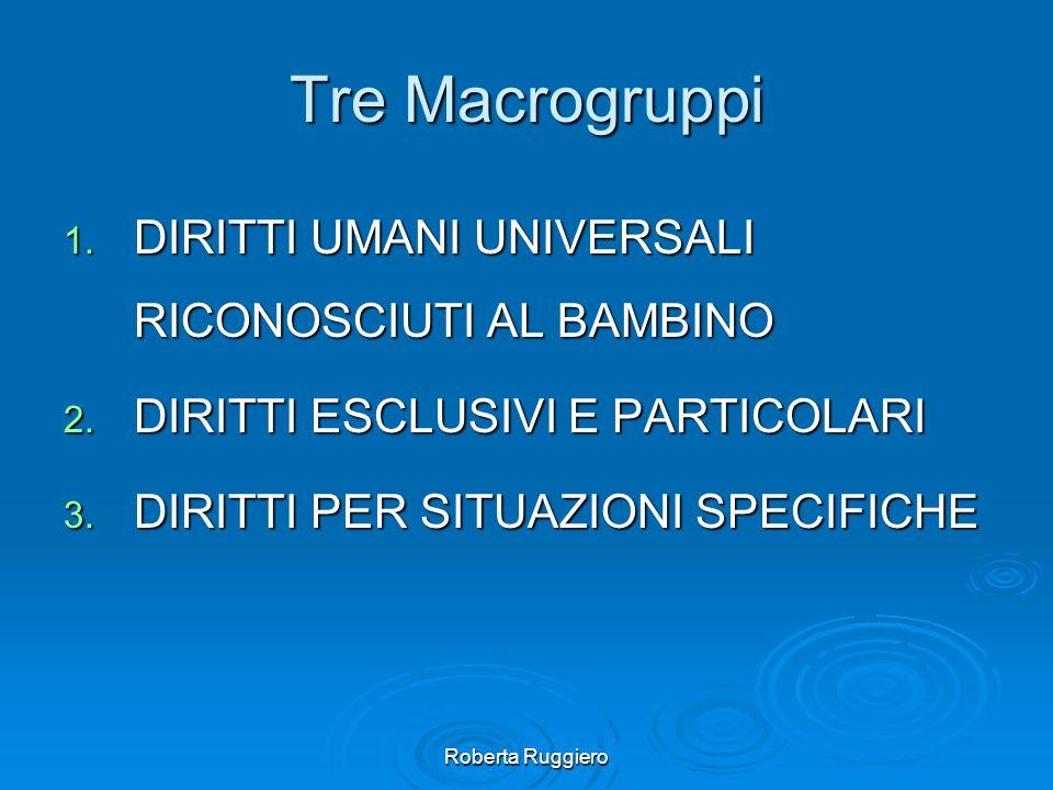 Tre Macrogruppi DIRITTI UMANI UNIVERSALI RICONOSCIUTI AL BAMBINO