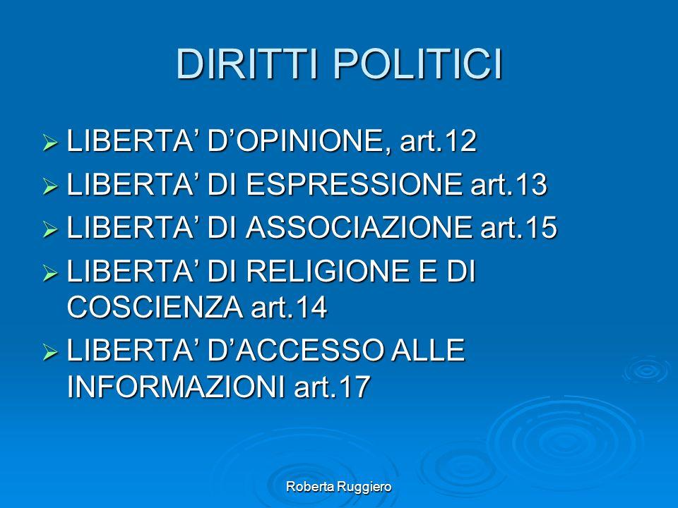 DIRITTI POLITICI LIBERTA' D'OPINIONE, art.12