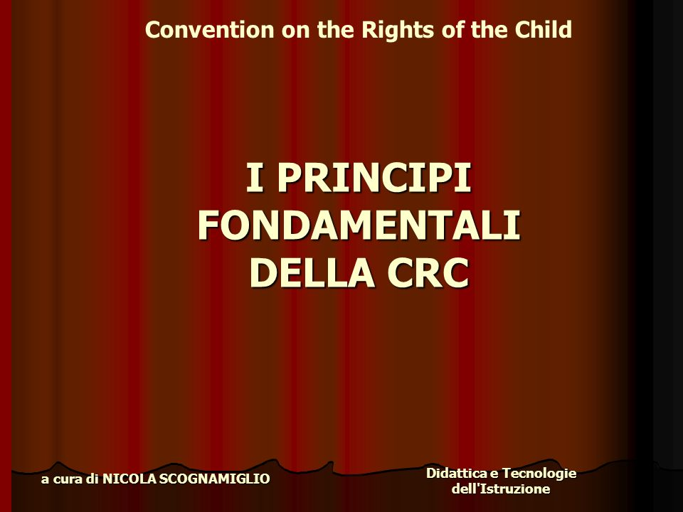 I PRINCIPI FONDAMENTALI DELLA CRC