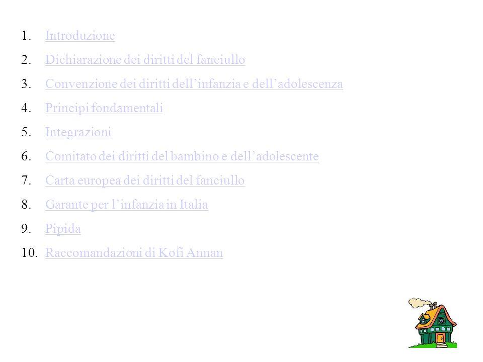 Introduzione Dichiarazione dei diritti del fanciullo. Convenzione dei diritti dell'infanzia e dell'adolescenza.