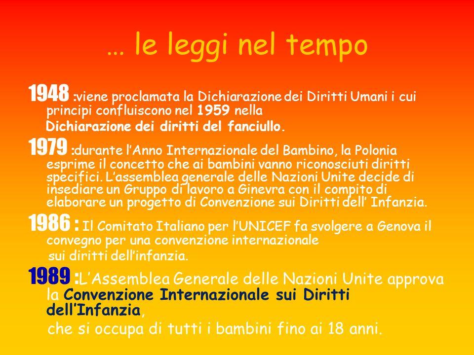 … le leggi nel tempo 1948 :viene proclamata la Dichiarazione dei Diritti Umani i cui principi confluiscono nel 1959 nella.