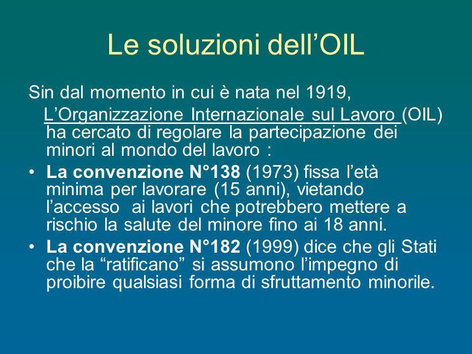 Le soluzioni dell'OIL Sin dal momento in cui è nata nel 1919,