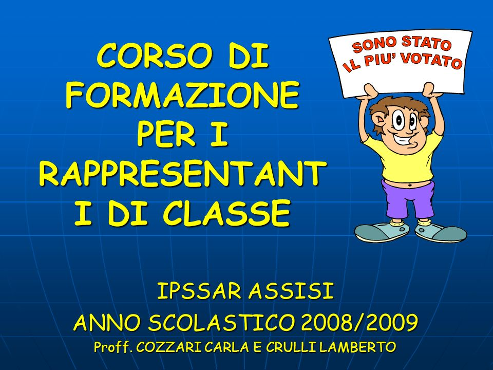 CORSO DI FORMAZIONE PER I RAPPRESENTANTI DI CLASSE