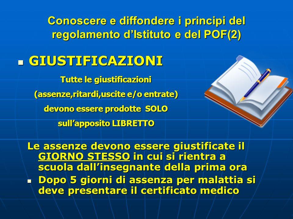 Conoscere e diffondere i principi del regolamento d'Istituto e del POF(2)