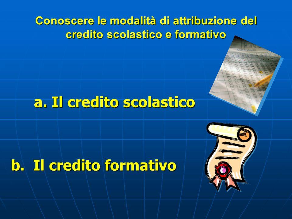 Il credito scolastico b. Il credito formativo