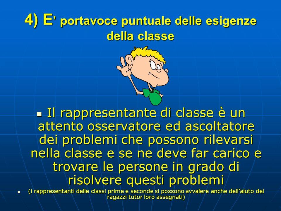 4) E' portavoce puntuale delle esigenze della classe