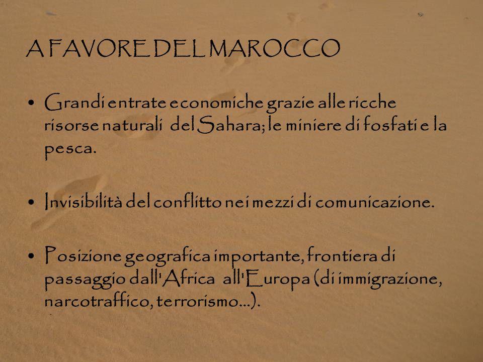 A FAVORE DEL MAROCCO Grandi entrate economiche grazie alle ricche risorse naturali del Sahara; le miniere di fosfati e la pesca.