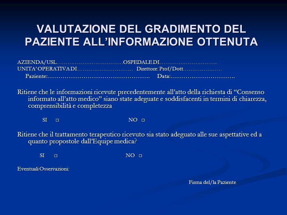 VALUTAZIONE DEL GRADIMENTO DEL PAZIENTE ALL'INFORMAZIONE OTTENUTA