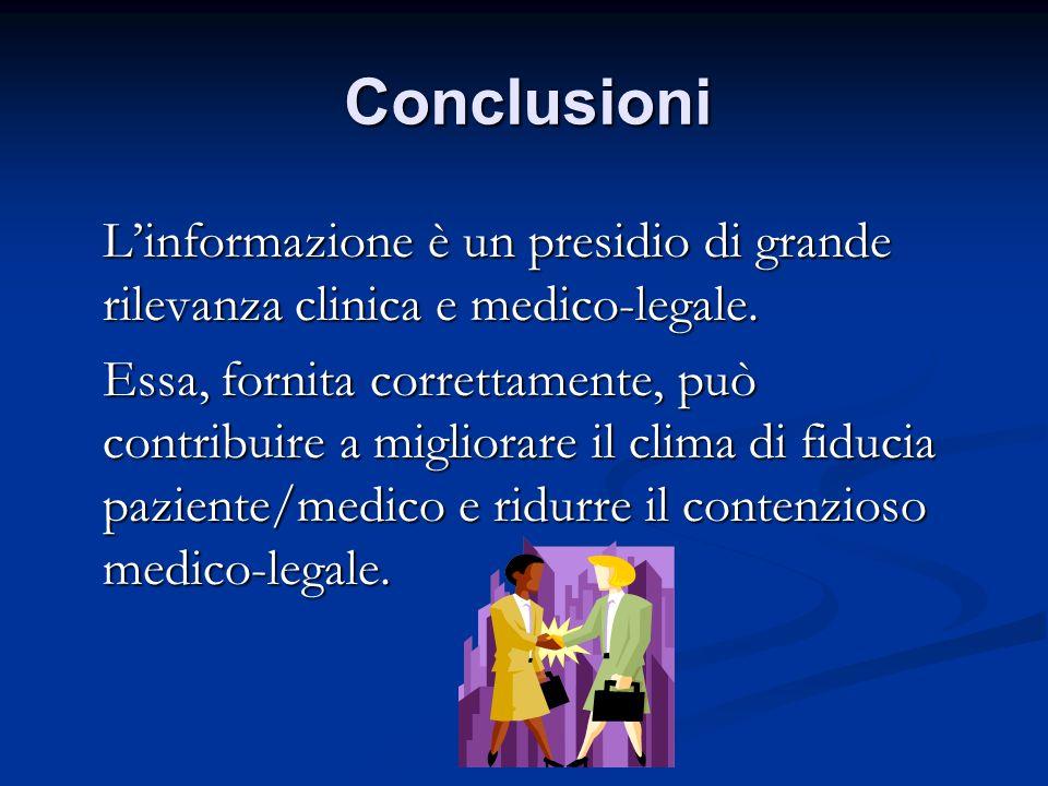 Conclusioni L'informazione è un presidio di grande rilevanza clinica e medico-legale.
