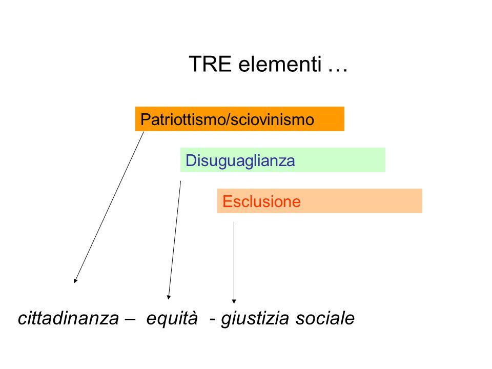 TRE elementi … cittadinanza – equità - giustizia sociale