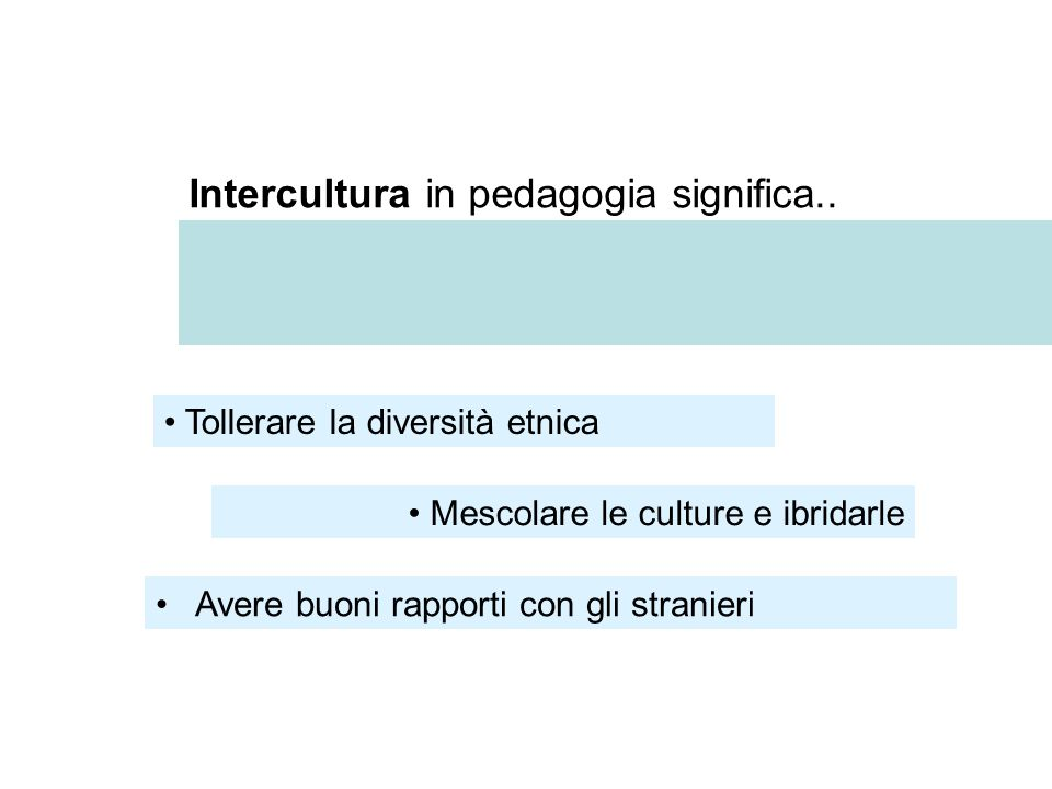 Intercultura in pedagogia significa..