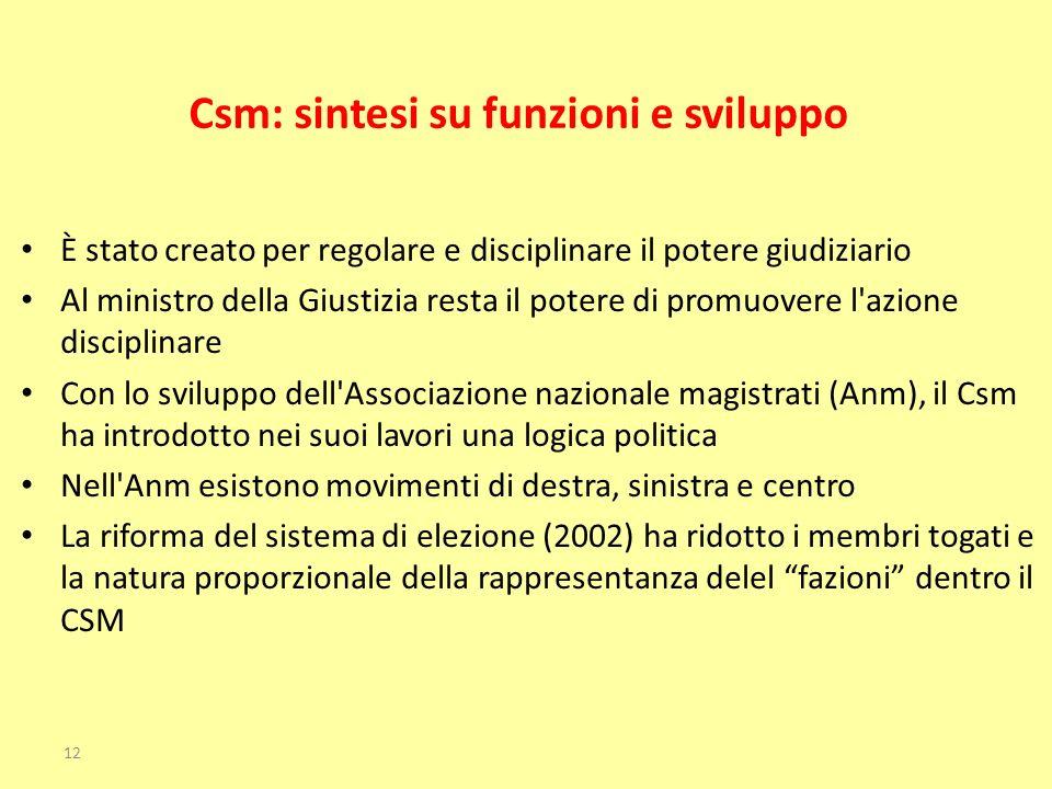Csm: sintesi su funzioni e sviluppo